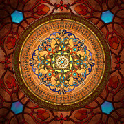 Red Leaves Mixed Media Posters - Mandala Arabia Poster by Bedros Awak