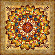 Brown Print Mixed Media Posters - Mandala Ararat V2 Poster by Bedros Awak