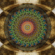 Ceiling Mixed Media Posters - Mandala Armenian Alphabet Poster by Bedros Awak