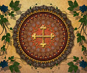 Vine Leaves Mixed Media Framed Prints - Mandala Armenian Cross sp Framed Print by Bedros Awak