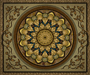 Earth Tone Art Metal Prints - Mandala Earth Shell sp Metal Print by Bedros Awak
