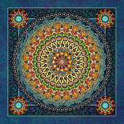Color Mixed Media Posters - Mandala Fantasia Poster by Bedros Awak