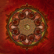 Healing Mixed Media Metal Prints - Mandala Flames Metal Print by Bedros Awak