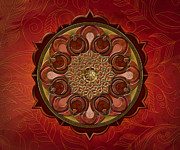 Ceremony Mixed Media Prints - Mandala Flames sp Print by Bedros Awak