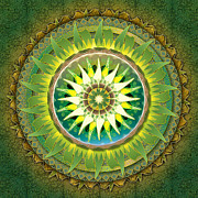 Yellow Leaves Mixed Media Posters - Mandala Green Poster by Bedros Awak