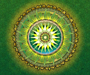 Wave Mixed Media - Mandala Green sp by Bedros Awak