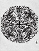 Circles Drawings Originals - Mandala- Journey Within by Anca S