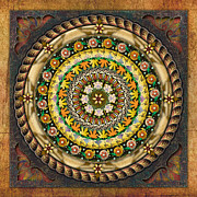 Relax Mixed Media Framed Prints - Mandala Mystic Garden Framed Print by Bedros Awak