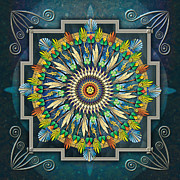 Visual Mixed Media Framed Prints - Mandala Night Wish Framed Print by Bedros Awak