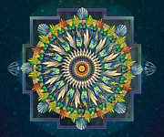 Mandala Prints - Mandala Night Wish sp Print by Bedros Awak