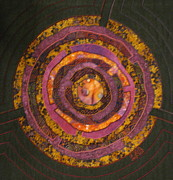 Fabric Collage Tapestries Textiles Posters - Mandala No 7 Purple Labyrinth Poster by Lynda K Boardman