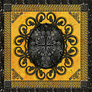 Ironwork Prints - Mandala Obsidian Cross Print by Bedros Awak