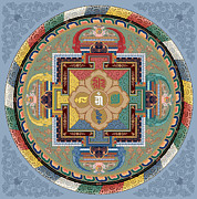 Tibet Mixed Media Prints - Mandala of the Five Jina cropped Print by Chris Banigan
