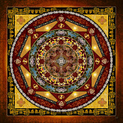 Visual Mixed Media Posters - Mandala Oriental Bliss Poster by Bedros Awak