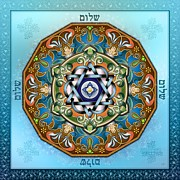 Navy Blue Framed Prints - Mandala Shalom Framed Print by Bedros Awak