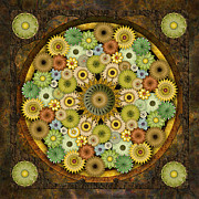 Flower Design Mixed Media Framed Prints - Mandala Stone Flowers Framed Print by Bedros Awak