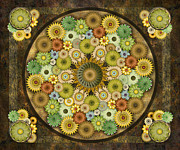 Bound Mixed Media Framed Prints - Mandala Stone Flowers sp Framed Print by Bedros Awak