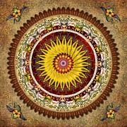 Flower Motifs Posters - Mandala Sunflower Poster by Bedros Awak
