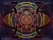 Vibrant Colors Drawings Prints - Mandala Vijatiya Print by Travis Hunt