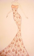 Fashion Illustration Pastels Posters - Mandarin Damask Gown Poster by Christine Corretti
