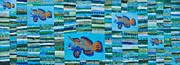 Quilted Wall Hanging Tapestries - Textiles Posters - Mandarin Fish Poster by Patty Caldwell