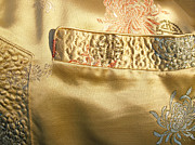 Gold Jacket Posters - Mandarin Silk Jacket - Pocket Detail Poster by Anna Lisa Yoder