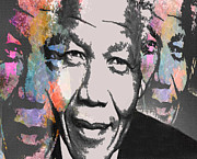 South African Mixed Media Prints - Mandela 1 Print by Brian Reaves