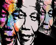 South African Mixed Media Prints - Mandela 2 Print by Brian Reaves