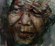 African Art Portrait Paintings - Mandela   by Paul Lovering