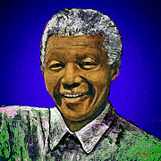 Series Digital Art Originals - Mandelas Rainbow Nation-Blue by Michael Durst