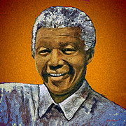 Orange Digital Art Originals - Mandelas Rainbow Nation-Orange by Michael Durst