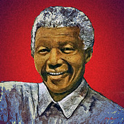 South Africa Digital Art Prints - Mandelas Rainbow Nation-Red Print by Michael Durst