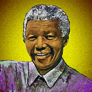 South Africa Digital Art Prints - Mandelas Rainbow Nation-Yellow Print by Michael Durst