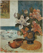 Beautiful Flowers Paintings - Mandolin and Flowers by Paul Gauguin