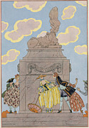 Spring Dresses Framed Prints - Mandoline Framed Print by Georges Barbier