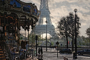 Morning Backlight Prints - Manege Parisienne Print by Joachim G Pinkawa