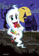 Haunted House Prints - Manga Sweet Ghost at Halloween Print by Martin Davey