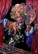 Mangiafuoco - Teatro Pinocchio Burattino - Stromboli Puppet Master And Harlequin Print by Arte Venezia