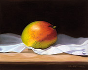 Tabletop Pastels Prints - Mango Pastel Print by Paul Riccardi