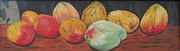 Mango Painting Originals - Mangoes on the Barbie by Hilda and Jose Garrancho