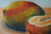 Mango Drawings Prints - Mangoes Print by Rosalina Bojadschijew