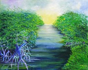 Coastal Forests Painting Posters - Mangrove Retreat Poster by Jane  Ricker