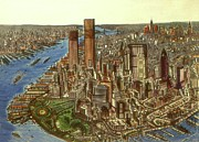 American City Drawings Prints - Manhattan 72 - New York Print by Peter Art Prints Posters Gallery