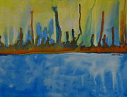 Empire State Building Paintings - Manhattan-An abstract form by Shruti Shubham