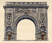 Brooklyn Bridge Drawings Posters - Manhattan Arch New York City Poster by Gerald Blaikie