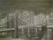 Brooklyn Bridge Drawings Posters - Manhattan At Night Poster by Irving Starr