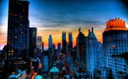 Sunset Posters Framed Prints - Manhattan at Sunset Framed Print by Monique Wegmueller