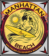 Manhatten Posters - Manhattan Beach California Surfing Poster by Larry Butterworth