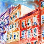 Streetscape Paintings - Manhattan Bleecker St by Yevgenia Watts