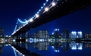 New York Photos Posters - Manhattan Bridge at Night Poster by Sanely Great